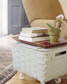 DIY Basket Table: Storage on Wheels