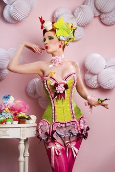 cake, cupcak, costum, fashion, corsets, colors, candies, lemon lime, pink