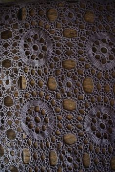 Vintage crochet table cloth in the classic Star Wheel motif design - inspiration.