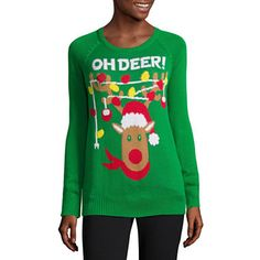 Too cute! #sponsored jcpenney.com | Long Sleeve Light Up Holiday Sweater-Juniors