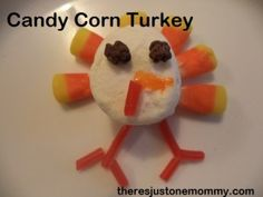 #Thanksgiving Candy Corn Turkey via There's Just One Mommy #ediblecrafts candi corn, activities for kids, thanksgiv candi, 20 turkey, turkey activ, corn turkey