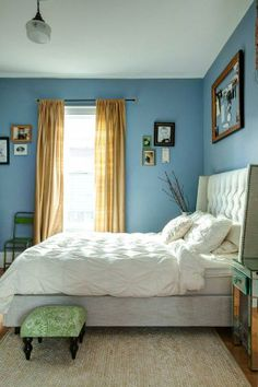 wall colors, house tours, headboard, bedroom rugs, color schemes, color combos, blue walls, blue bedrooms, white bedding