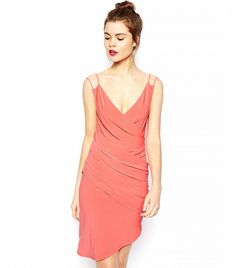 A slinky slip dress is just the right amount of sexy for a wedding. // Cami Drape Dress by ASOS