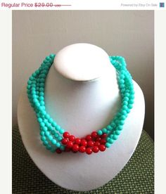Blue and Red Necklace Aqua Blue by LaetitiaJewelry on Etsy
