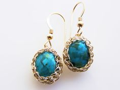 Turquoise  Earrings Turquoise Dangle earrings by orithadad on Etsy, $51.00