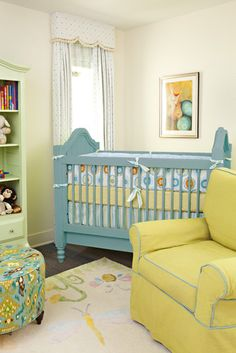 Bright colored nursery with neutral walls