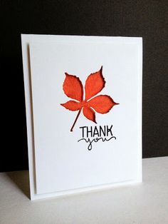 DiY thank you card from I'm in Haven ... clean and simple .. die cult leaf ... negative space backed in brilliant rusty red ... luv this card!!