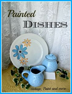 Vintage, Paint and more... stenciled dollar store plate and painted thrift store finds