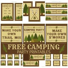 Best FREE camping party labels yet!!!  There are many out there that cost $ but this is cute and totally free.  I am going to make it more girly by filling in the edges with a hot pink pen.  Girls 5th Birthday - Backyard Camping Theme
