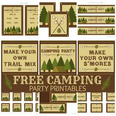 birthday parti, camp parti, camping theme, 5th birthday, backyard camping, party printables, water bottle labels, parti printabl, water bottles
