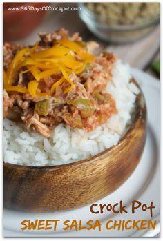 Recipe for Crock Pot Sweet Salsa Chicken #easydinner #chickendinner #slowcookerrecipe #crockpotrecipe #crockpot