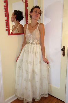 Upcyled slip trims lace dress