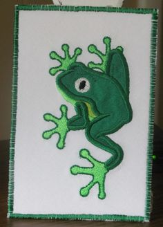 Tree Frog Fabric Postcard by fabricmom1 on Etsy, $5.99