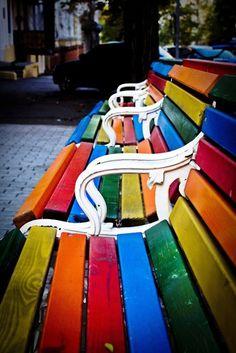 Rainbow park benches!
