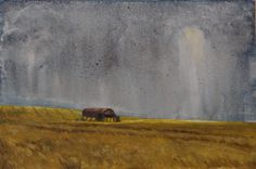 A lovely scene of an old barn surrounded by near ripe barley just as the sun breaks through during a heavy downpour.