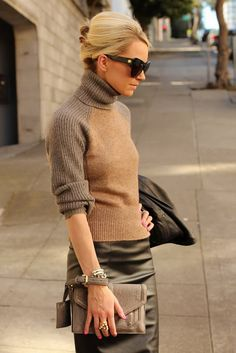 two-toned sweater & leather skirt