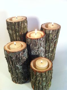 rustic tree branch candle holders