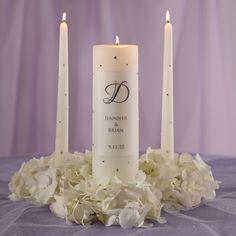Crystal Wedding Unity Candle | #exclusivelyweddings | #blackandwhitewedding
