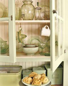 kitchens, cabinets, glasses, green kitchen, cupboards, design kitchen, kitchen design, cottages, vintage green