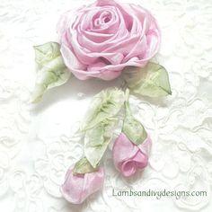 Ribbonwork Brooch Pin Pink Roses Ribbon Work by lambsandivydesigns, $28.95