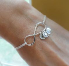 Personalized Infinity Bracelet with initials, Mothers bracelet, Sterling silver Initial bracelet, Family initials, sisters, Best friends via Etsy