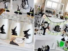 straw idea, halloween parties, witch silhouett, party printables, halloweenparti