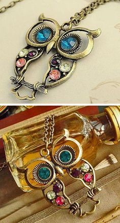 owl necklac, owls necklace, embellish owl