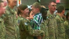 See the sweet moment when a toddler skips military protocol to hug mom