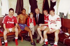April 14 1990: Former Labour leader Neil Kinnock and his son joins Ian Rush, John Barnes, Steve McMahon and the late Gary Ablett in the Anfield dressing room after the 2-2 draw with Nottingham Forest. Two weeks later Liverpool were crowned league champions.