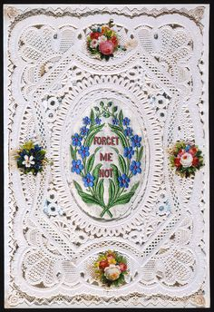 Embroidery (with paper lace, white cameo embossed paper lace and card, scraps) c.1870. Postal Heritage Museum (OB1995.365)
