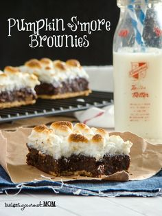 Summer + Fall Dynamic Duo, KAPOW!! Pumpkin S'more Brownies via Budget Gourmet Mom