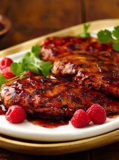 Grilled Chicken with Raspberry Chipotle Glaze