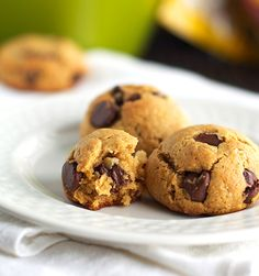 Healthy Chocolate Chip Peanut Butter Cookie Dough - not just a dip though, you can actually bake them