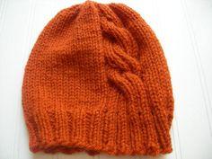 Pumpkin Cabled Hat / Fall Winter Fashion / Orange Beanie