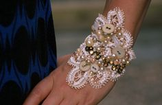 Shabby Chic beaded lace cuff