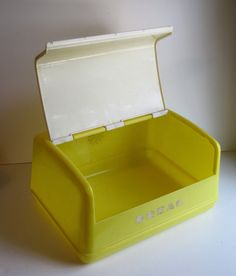 Vintage Yellow and White Plastic Breadbox