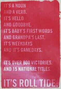 If you are an Alabama fan you know how so true this is...we take our football seriously!!! What can I say...ROLL TIDE!!!!!