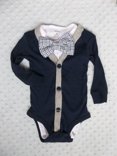 Baby Boy Cardigan Bowtie Onesie for a Preppy Baby Boy via Etsy