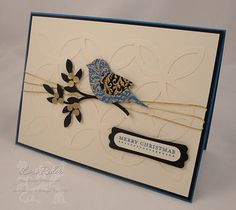 handmade card by The Diva Stamper ... two step punched bird as focal point .... luv the tone on tone textured background ...Stampin' Up!