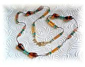 Hand Knotted Necklace in Amber ,Browns and Green Free shipping and earrings included
