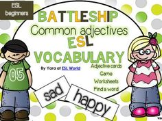 Common Adjectives Games, worksheets, cards, writing tasks ESL Beginners from SeaofKnowledge on TeachersNotebook.com -  (18 pages)  - This bundle combines all my worksheets, centers and activities used to reinforce and teach common adjectives to ESL students at a beginner's level.
