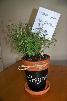 "Gift idea for parent volunteer or teacher:  Thank you for sharing your ""thyme."""
