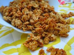 Super easy peanut butter granola: 2 tbsp peanut butter, 2 tbsp honey, 1/4 tsp cinnamon, 1/4 tsp vanilla, 1 cup oats. Preheat oven to 325, combine PB and honey and microwave until melted. Add cinnamon and vanilla to mixture. Add oats. Spread on cookie sheet and bake 7-8 minutes. Yum!