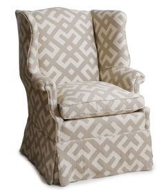 wing chair with geometric pattern