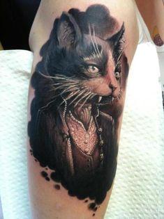 Victorian Cat portrait. Wanna make one with my Devon Rex cat.