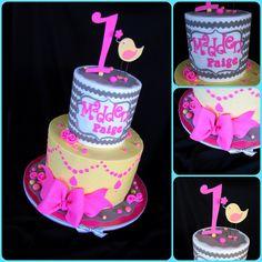 Chevron Bird Cake