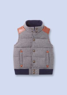 grey flannel puffer vest from French children's clothing line