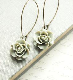 Green Rose Earrings Grey Sage Long Dangle by apocketofposies