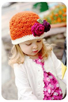 Hey, I found this really awesome Etsy listing at https://www.etsy.com/listing/81870263/girls-crochet-beanie-hat-in-orange-cream