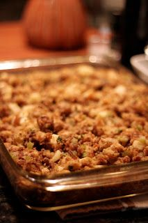 Thanksgiving Stuffing with sausage, apples, and pecans YUM!